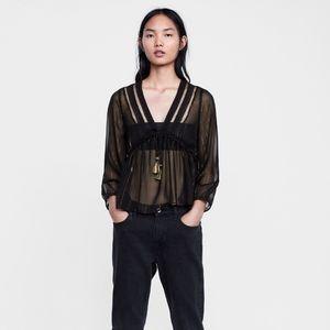 Zara sheer black blouse with gold threading